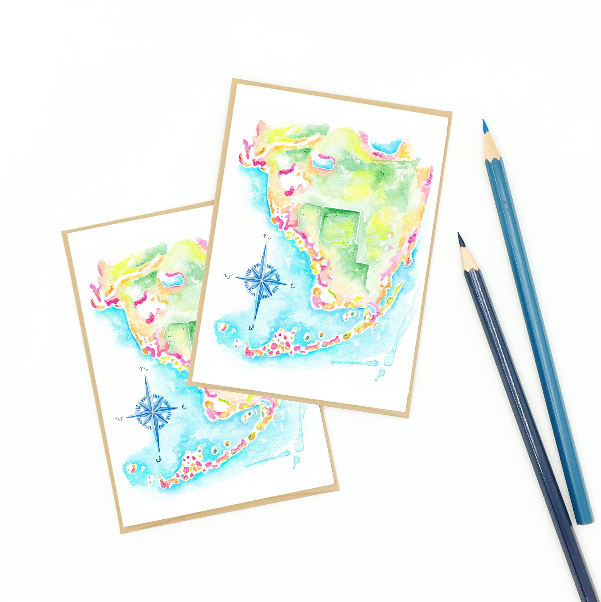 Florida Keys Map Artwork Boxed Gift Set of Notecards - Eight (8)