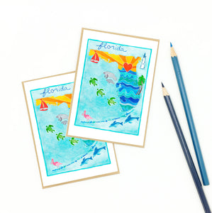 gifts for florida snowbirds, set of eight (8) notecards.
