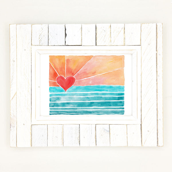 heart art, sunny days, sunrise surf art.