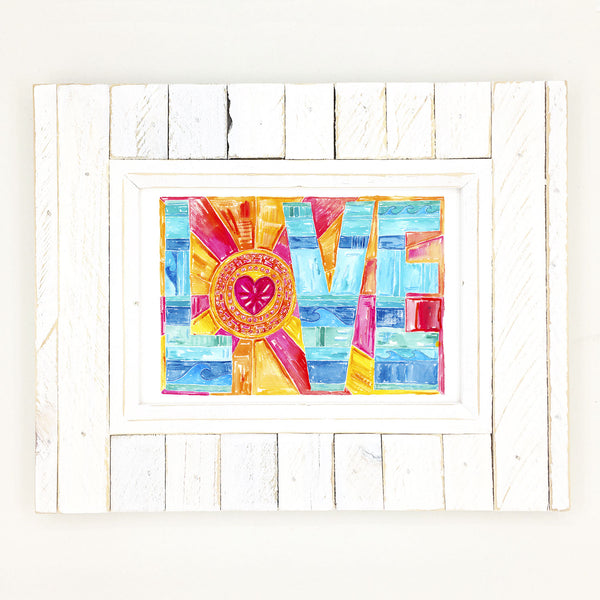 Love word art, fine art giclee print, watercolor.
