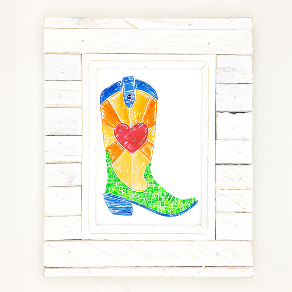 cowyboy boot art, bright and colorful heart boot.