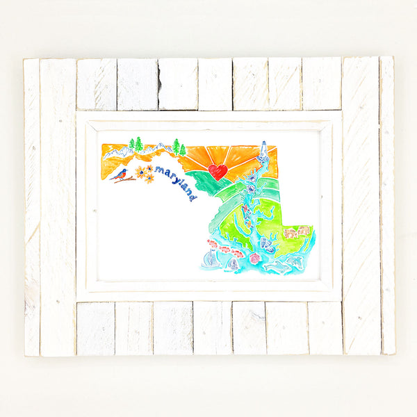 Maryland map art, illustrative map in watercolor and gouache.