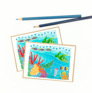 Coral reef thank you cards, set of eight (8).