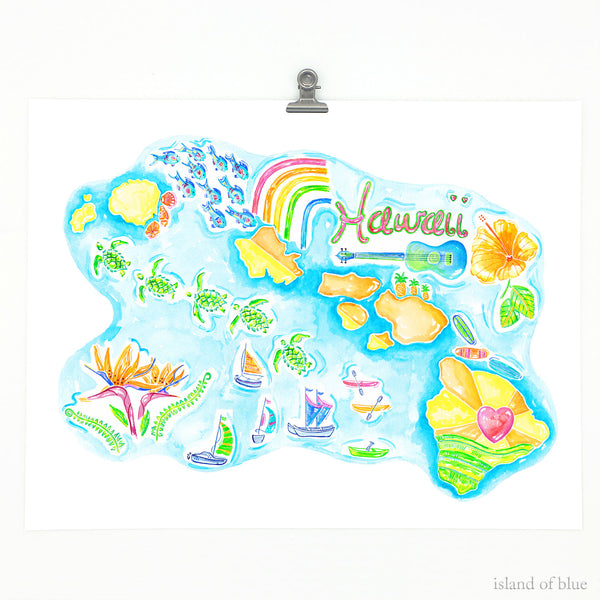 Hawaiian Islands map, bright and colorful.