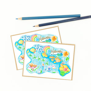 Hawaiian notecards, colorful illustrative map.