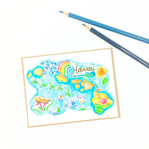 hawaii greeting cards, illustrative map of the islands.