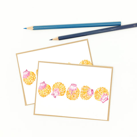 hawaiian note cards, sunrise seashell, set of eight