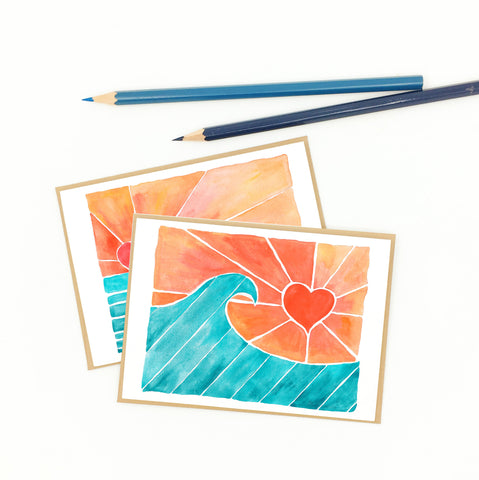 heart notecards, ocean-inspired thank you cards.