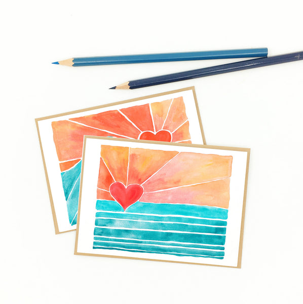 heart notecards, colorful wave art.