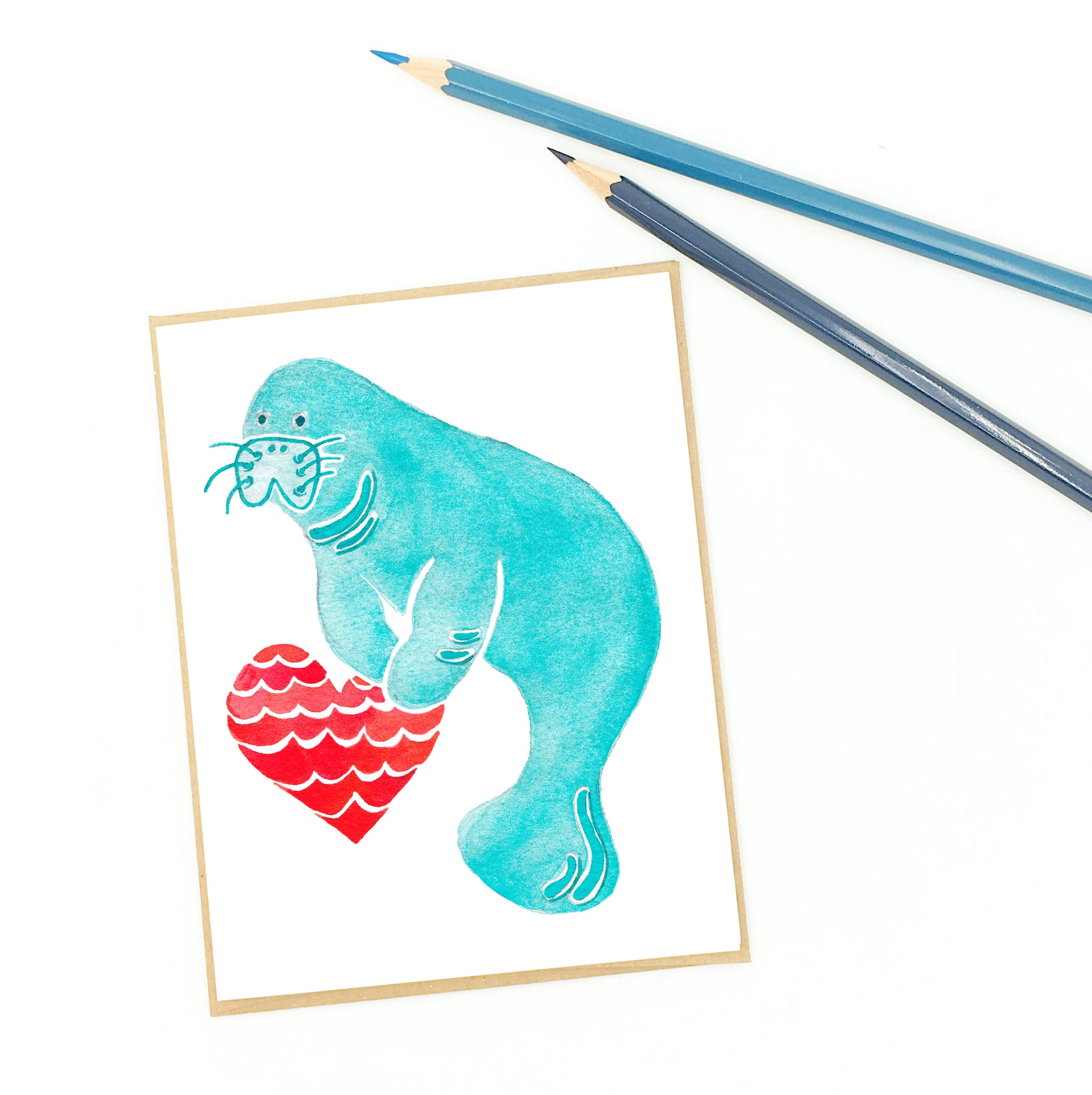 gifts for manatee lovers, single fine art card.