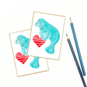 manatee gifts, homosassa love, watercolor notecard set.
