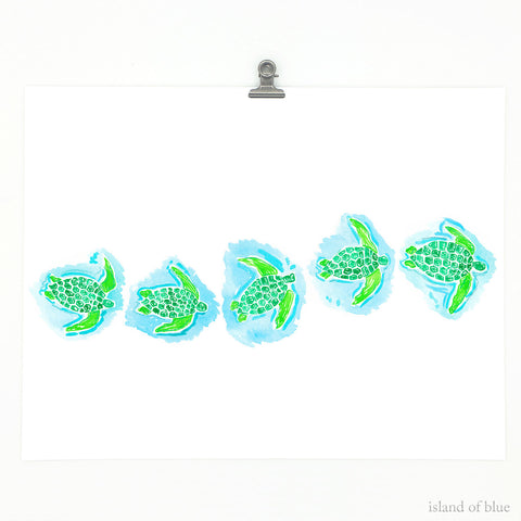 Sea turtle print, fine art giclee.