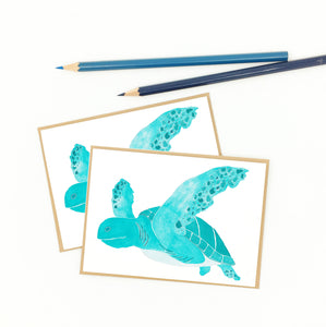gifts for sea turtle lovers, set of notecards, recycled.