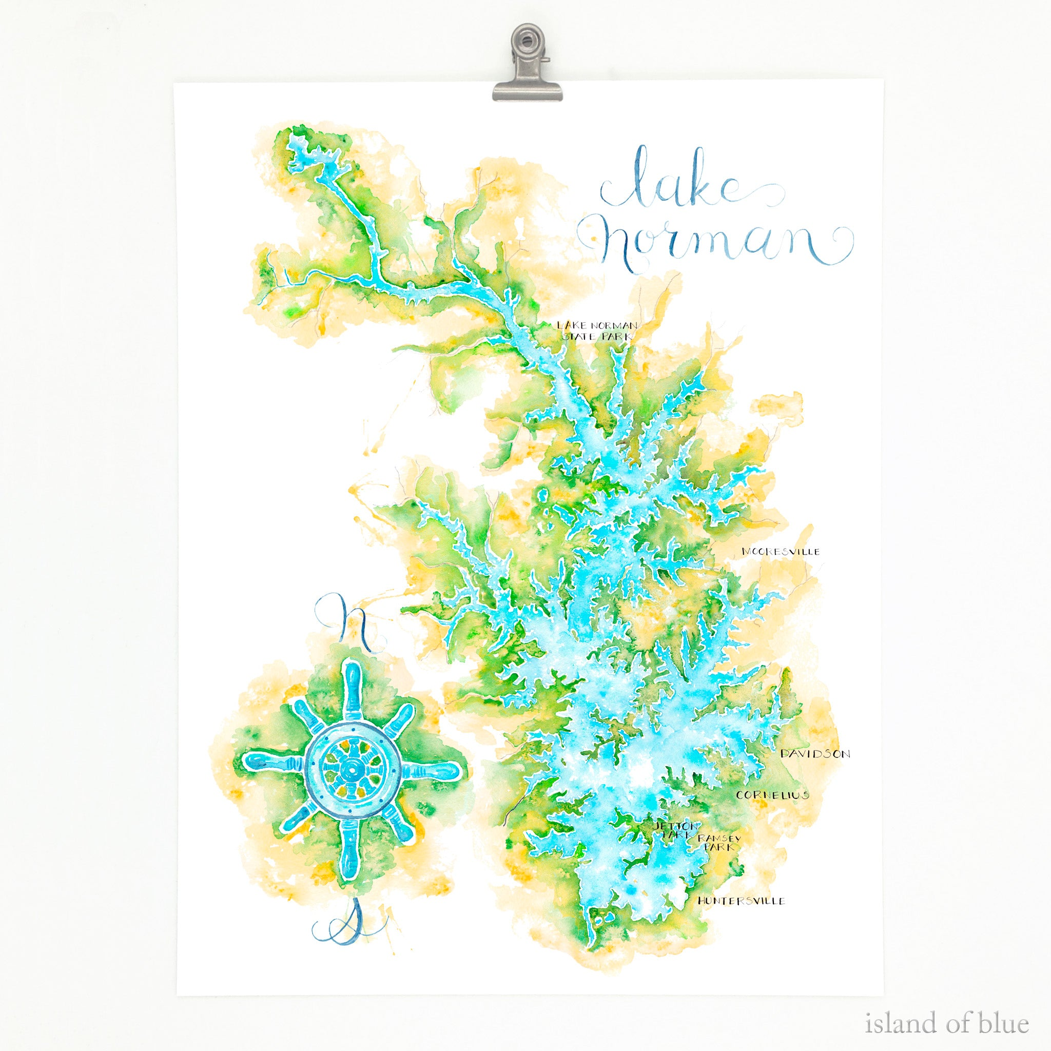 lake norman art, illustrative map fine art print, north carolina.