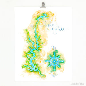 lake wylie art, illustrative map, north and south carolina.