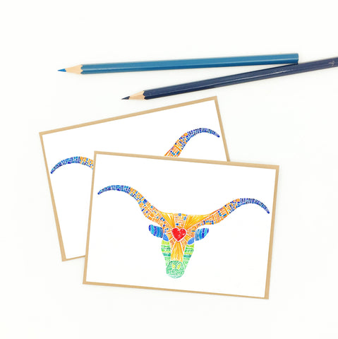texas longhorn gifts, colorful steer art, set of eight notecards
