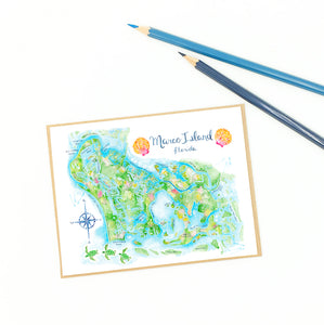 Marco Island cards, fine art, illustrative map.