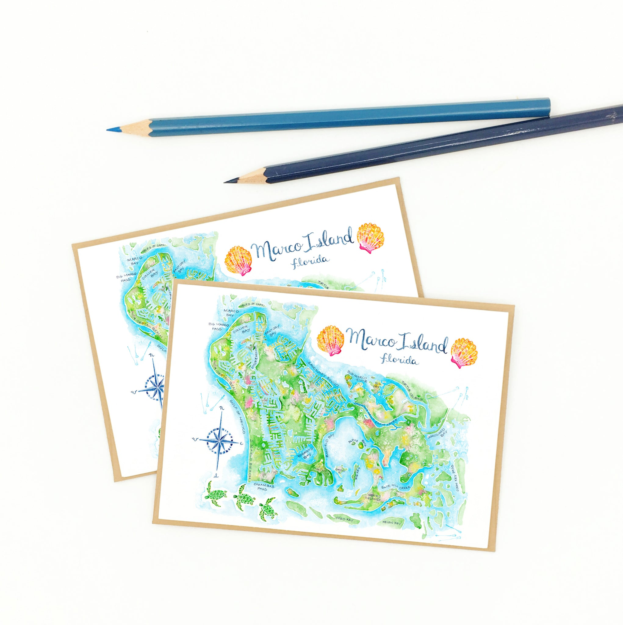 Marco Island gifts, notecard boxed set, recycled.