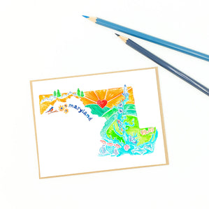 Maryland greeting cards, illustrative map of the state.