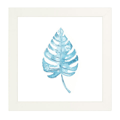 classic blue coastal art monstera tropical leaf flora