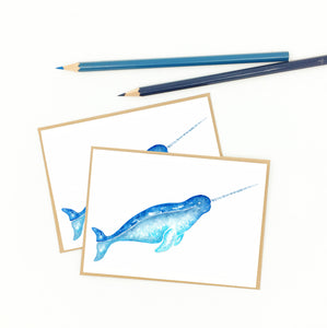 narwhal notecard set, watercolor