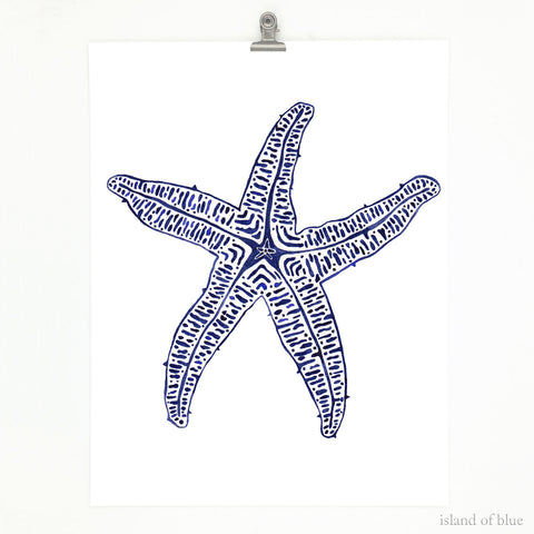 starfish painting, navy star of the sea, coastal decor.