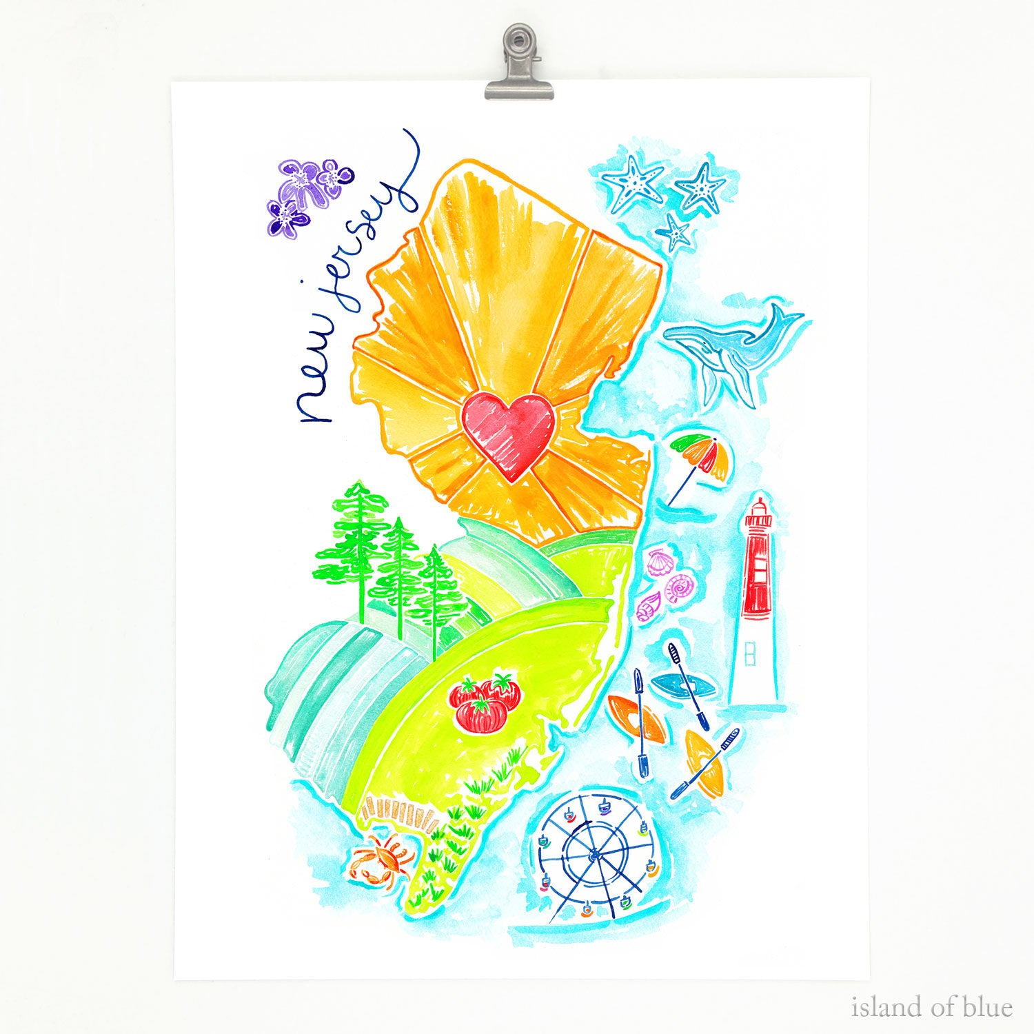 jersey shore art, bright and colorful, watercolor map.