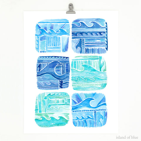 coastal wall art, 'Ocean Symphony', bright blues.