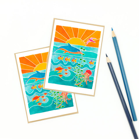 ocean greeting cards, blank notecard set, dolphin art.