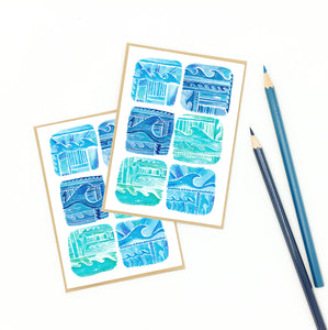 surf stationery, 'ocean symphony' notecard set, recycled.
