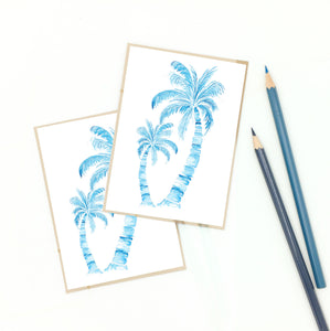 palm tree gifts, set of notecards, classic blue.