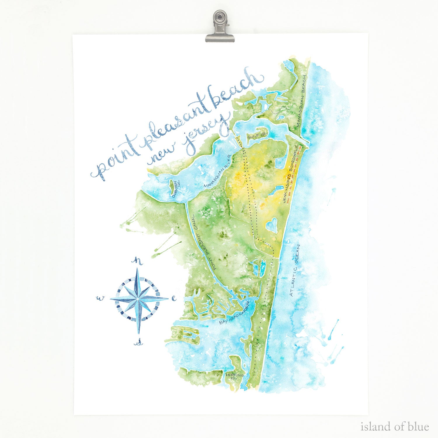 point pleasant beach map, fine art giclee.