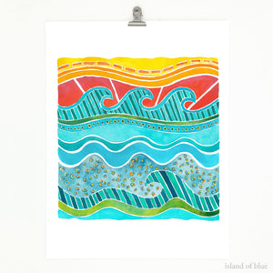 Wave art, bright and colorful abstract wave design.