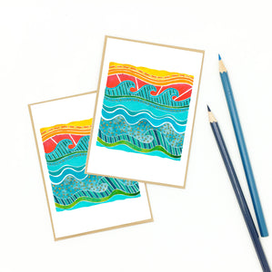 ocean stationery, set of notecards, gift-wrapped.