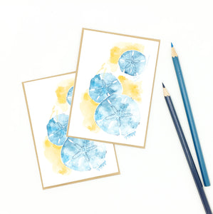beach note cards, sand dollar artwork, watercolor and gouache.