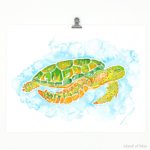 sea turtle framed art, watercolor print, green sea turtle