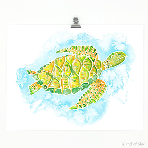 sea turtle wall decor, hawksbill watercolor art