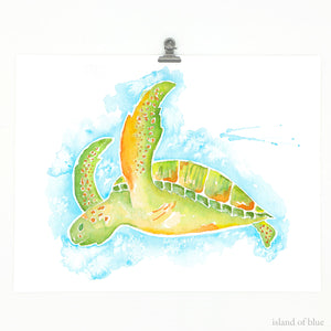 turtle painting, sea turtle in watercolor and gouache
