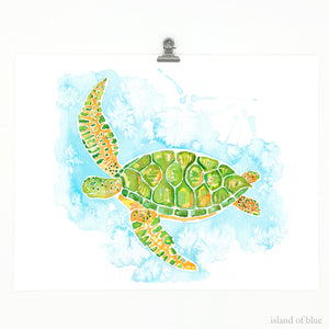 sea life wall art, sea turtle, loggerhead