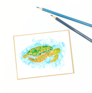 sea turtle blank card, green sea turtle