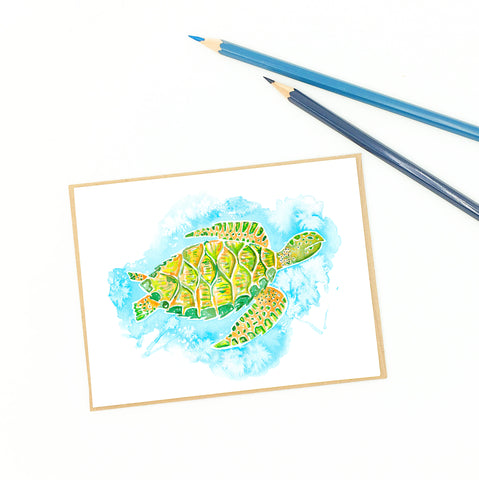 coastal cards, hawksbill sea turtle