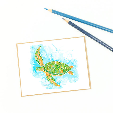sea turtle greeting cards, loggerhead