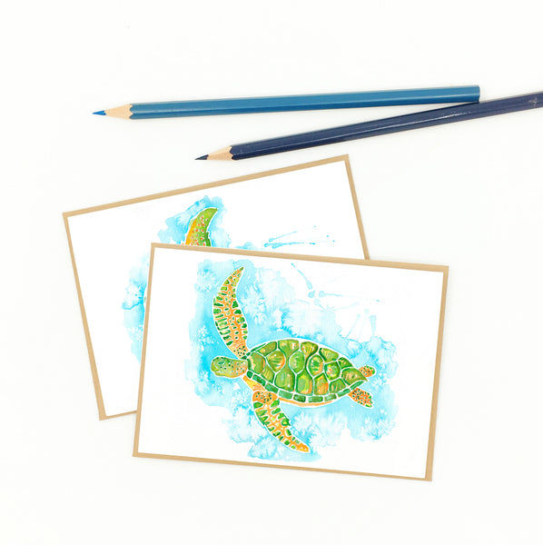 sea turtle gifts, boxed set of watercolor notecards
