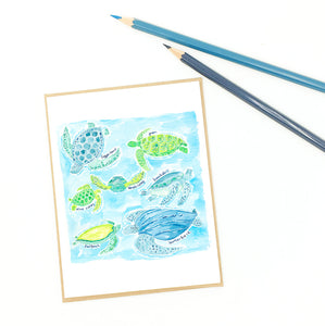 turtle cards, fine art greeting, sea turtles of the world.