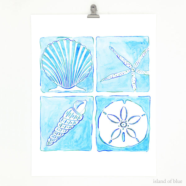 Seashell wall art blue, fine art giclee, watercolor.