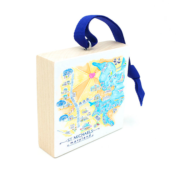 maryland gifts, st michaels map holiday ornament.
