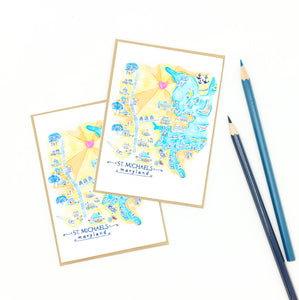 st michaels md souvenirs, illustrative map art, notecard set.