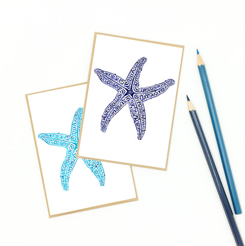 starfish note cards, aqua and navy.