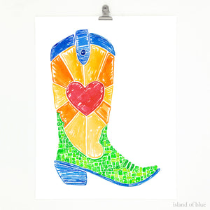 cowboy boot art, bright and colorful boot art.
