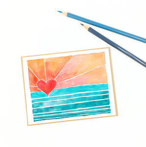 surfer greetings, fine art card, heart sunrise.